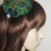 Peacock Feathers Crystal FEATHER HEADBAND Fascinator Black 1920s Hair Accessory