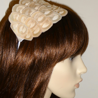 Nude Cream Pale Gold Peacock FEATHER HEADBAND Fascinator Ivory Hair Accessory