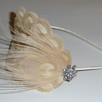 Nude Gold Cream Crystal Peacock FEATHER HEADBAND Fascinator Ivory Hair Accessory