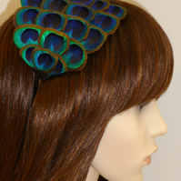 Peacock FEATHER HEADBAND Turquoise Blue Green Silver Fascinator Hair Accessory