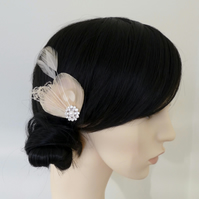 Nude Bleached Peacock Feather Hair Clip Fascinator Bridesmaids Accessory Lisette