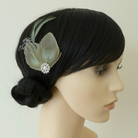 Sage Green Peacock Feather Hair Clip Fascinator Bridesmaids Accessory 'Lisette'