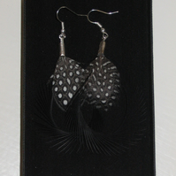 BLACK Biot Curled Feather Silver Plated Handmade EARRINGS