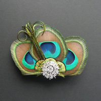 Peacock Feather Hair Clip Crystal Turquoise Blue Fascinator Wedding Paige