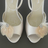 Nude Peacock Feather Shoe Clips Cream Ivory Crystal Wedding Bridal 'Leonie'