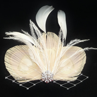 Nude Bleached Peacock Feather Trio Hair Clip Fascinator Pale Gold and Cream