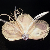 Nude Pale Gold Cream Bleached Peacock Feather Trio Hair Clip Fascinator Wedding