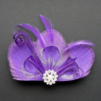 Purple Peacock Feather Hair Clip Pearl Bridesmaids Accessory Fascinator Wedding