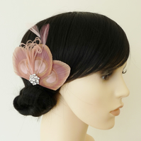 Dusky Pink Peacock Feather Hair Clip Bridesmaids Fascinator Wedding 'Lizbeth'