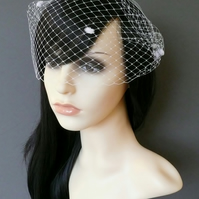 Birdcage Veil White Dots Bandeau gold or silver plated combs french net Minnie