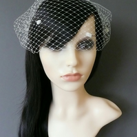 Birdcage Veil Ivory Dots Bandeau gold or silver plated combs french net Minnie