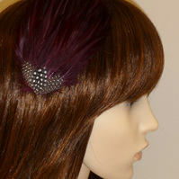 Wine Burgundy Maroon Black Spotted FEATHER HAIR CLIP Fascinator Bridesmaids Gwen