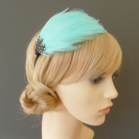 Aqua Blue Spotted FEATHER HEADBAND Fascinator Black Hairband Bridesmaid 'Gwen'