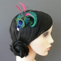'Peacock Curl' Feather Fascinator Headband CUSTOMISABLE Colours Bridesmaids