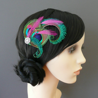 Peacock Eye Fuchsia Pink Feather Hair Clip Fascinator 1920's Flapper 'Althea'