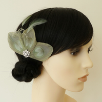 Sage Green Peacock Feather Hair Clip Fascinator Bridesmaids Accessory 'Lizbeth'
