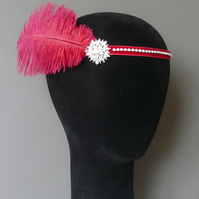 Flapper Headband Wine Red Feather Headpiece 1920s Burgundy Fascinator 20s Dress