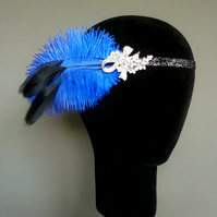 Royal Blue and Black Feather Flapper Headband Headpiece 1920s Fascinator 20s