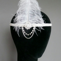 White Feather Flapper Headband Diamante Headpiece 1920s Fascinator Art Deco 20s