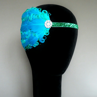 20s Flapper Headband Turquoise Blue and Green Feather Headpiece 1920s Fascinator