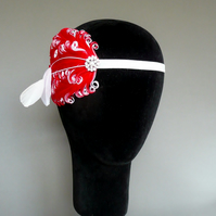 20s Flapper Headband Red and White Feather Headpiece 1920s Fascinator Burlesque