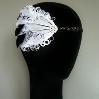 20s Flapper Headband White and Black Feather Headpiece 1920 Fascinator Burlesque
