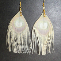 Nude Cream Peacock Feather Earrings Gold Plated Swarovski Crystals Feathers