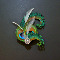 Peacock Eye Ivory Feather Hair Clip Fascinator 1920's Flapper Bridal 'Althea'