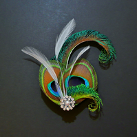 Peacock Eye White Feather Hair Clip Fascinator 1920's Flapper Bridal 'Althea'