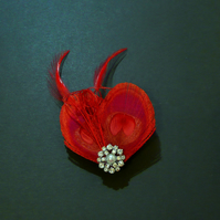 Red Peacock Feather Hair Clip Fascinator Bridesmaids Wedding 'Lisette'