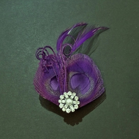 Purple Peacock Feather Hair Clip Fascinator Bridesmaids Wedding 'Lisette'
