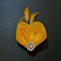 Yellow Peacock Feather Hair Clip Bright Fascinator Bridesmaid Wedding Lisette