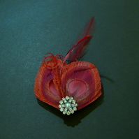 Wine Red Peacock Feather Hair Clip Burgundy Fascinator Bridesmaids 'Lisette'