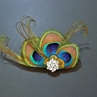 Peacock Feather Hair Clip Fascinator Brooch Pin Accessory Crystal Blue 'Clara'