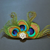 Peacock Feather Hair Clip Fascinator Brooch Pin Accessory Crystal Blue 'Cora'