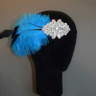 Turquoise Black Feather Gatsby Flapper Headband Headpiece 1920s Fascinator 20s