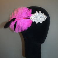 Hot Pink Black Feather Gatsby Flapper Headband Headpiece 1920s Fascinator 20s