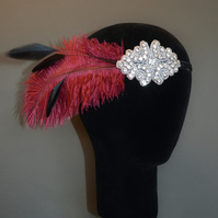 Wine Red & Black Feather Gatsby Flapper Headband Headpiece 1920s Fascinator 20s
