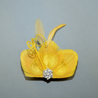 Yellow Peacock Feather Hair Clip Bridesmaids Fascinator Wedding 'Lizbeth'
