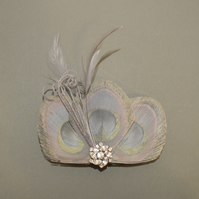Silver Grey Peacock Feather Hair Clip Bridesmaids Fascinator Wedding 'Lizbeth'
