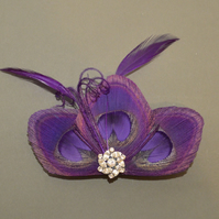 Purple Peacock Feather Hair Clip Bridesmaids Fascinator Wedding 'Lizbeth'