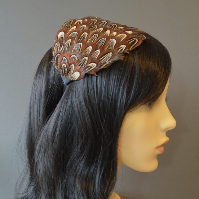 Almond Brown, Golden Bronze and Cream Feather Fascinator Black Headband Hairband