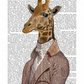 Regency Giraffe on Upcycled Dictionary Page, Giraffe Print
