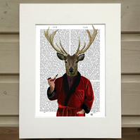 Deer in Smoking Jacket Recycled Book page, Deer Print Art Print