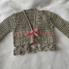 Babys Summer Crochet Cardigan with fancy border 18""