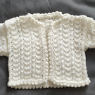 White Preemie knitted cardigan