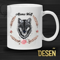 MAMA Wolf Mug - Illustration art - WHITE MUG