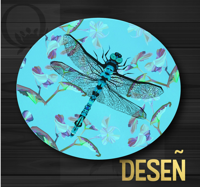 Dragonfly geometric flowers Round Glass Cutting Board
