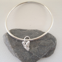 Silver Bangle with Hand Cast Solid Heart