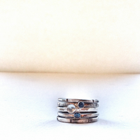 Blue Topaz Stacking Rings - Blue Stone Ring - Handmade Silver Rings